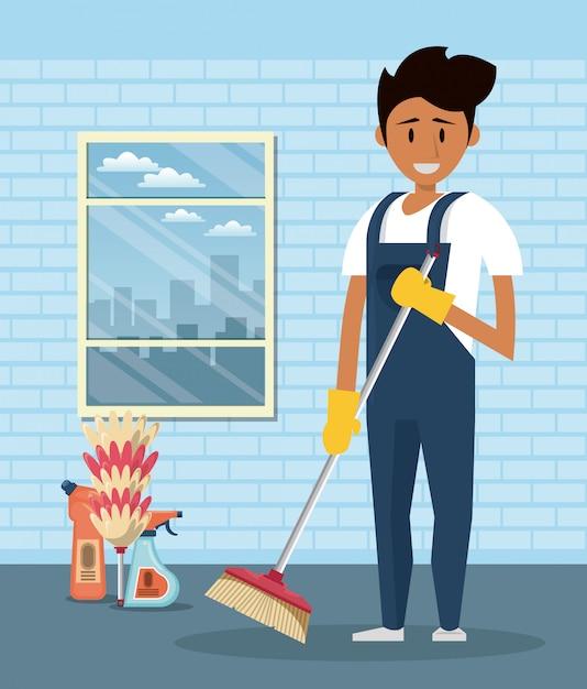 Reinigungskraft mit reinigungsmitteln reinigungsservice Kostenlosen Vektoren