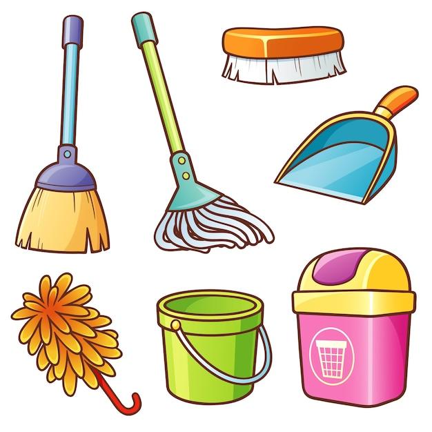 Reinigungslieferanten-set Premium Vektoren
