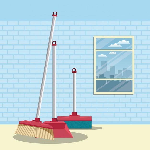 Reinigungsmittel für heim-cartoons Kostenlosen Vektoren