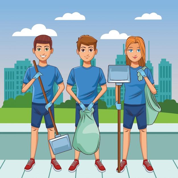 Reinigungsservice-personenavatarazeichentrickfilm-figur Kostenlosen Vektoren