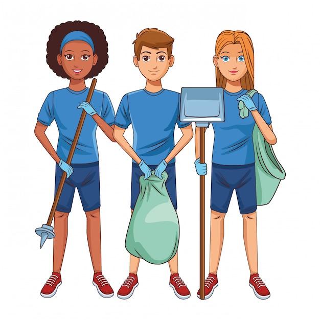 Reinigungsservice-personenavatarazeichentrickfilm-figur Premium Vektoren