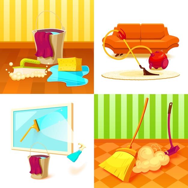 Reinigungsservice-set Kostenlosen Vektoren