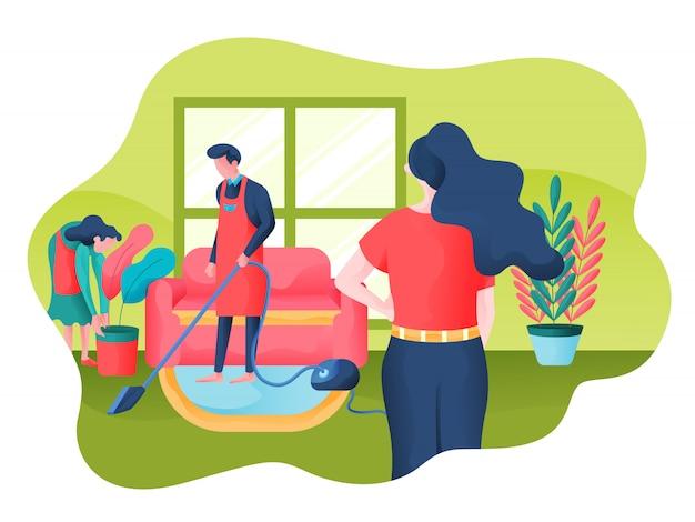 Reinigungsservice-vektor-illustration Premium Vektoren
