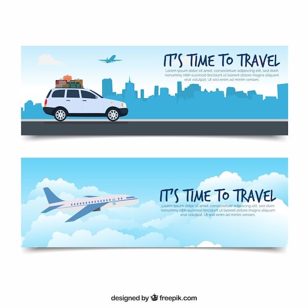 Reise-banner mit flachem design Kostenlosen Vektoren