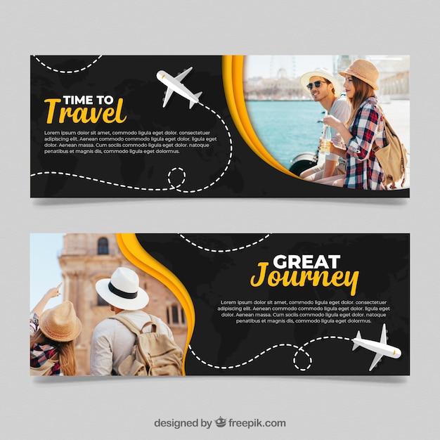 Reise banner mit foto Kostenlosen Vektoren