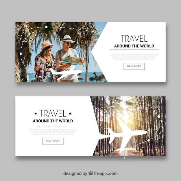 Reise-banner mit fotografie Kostenlosen Vektoren