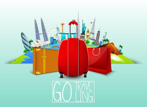 Reise-banner mit koffer Premium Vektoren