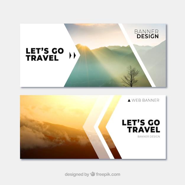 Reise Banner mit Ziel Kostenlose Vektoren