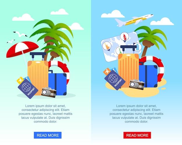 Reise-flache werbungs-fahnen eingestellt mit platz für förderungstext. Premium Vektoren