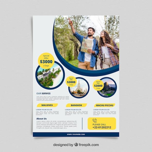 Reise-Flyer mit Foto von Destinationen Kostenlose Vektoren