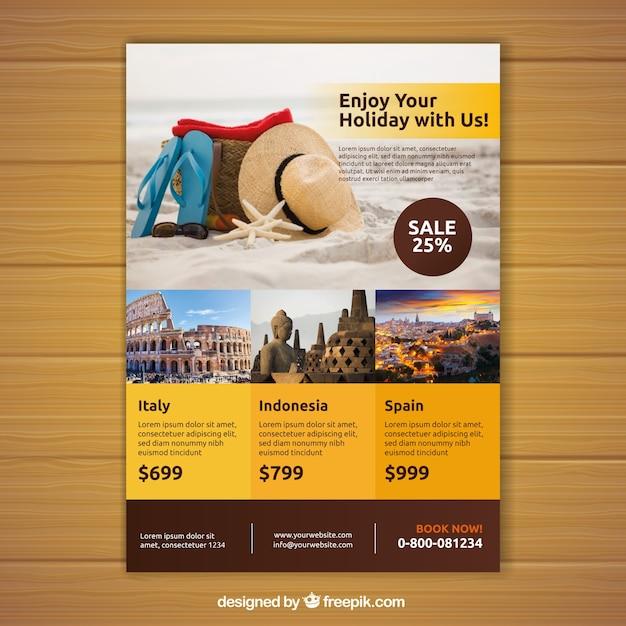 Reise-flyer mit foto von destinationen Kostenlosen Vektoren