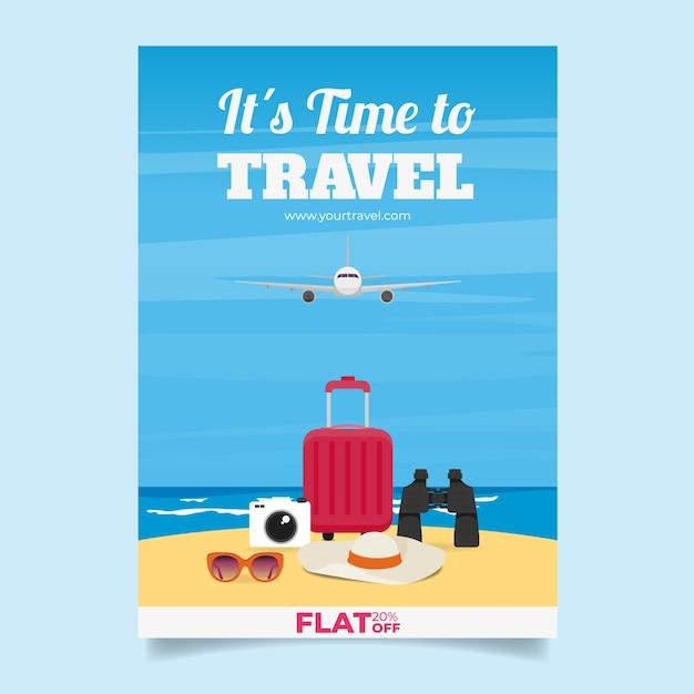 Reise-Flyer-Vorlage mit flachen Design | Download der kostenlosen Vektor