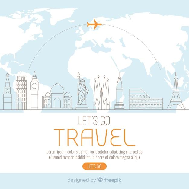 Reise-Hintergrundvorlage Kostenlose Vektoren