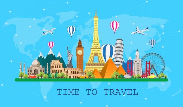 Reise in die welt. ausflug. große reihe von sehenswürdigkeiten der welt. reisezeit, tourismus, sommerurlaub. verschiedene arten von reisen. flache darstellung Premium Vektoren