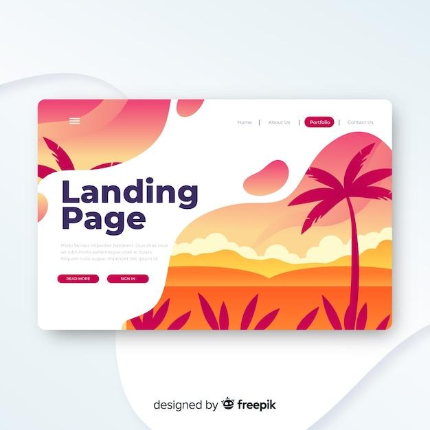 Reise-landing-page-vorlage, schönes design Kostenlosen Vektoren