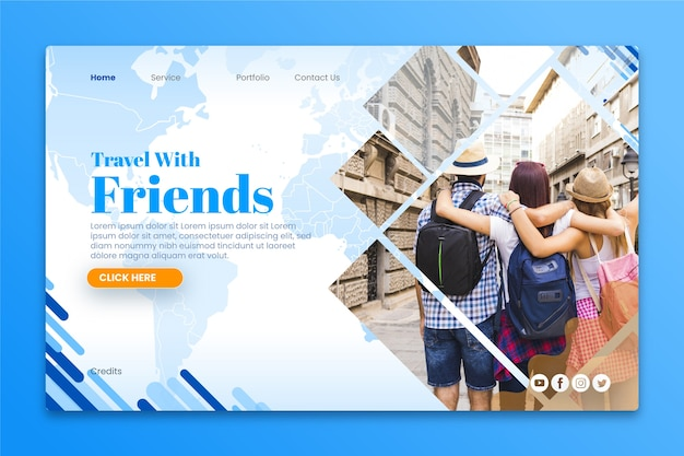 Reise-landingpage mit bild Kostenlosen Vektoren