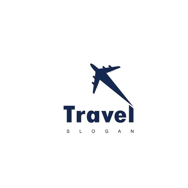 Reise-logo mit dem flugzeug-symbol Premium Vektoren
