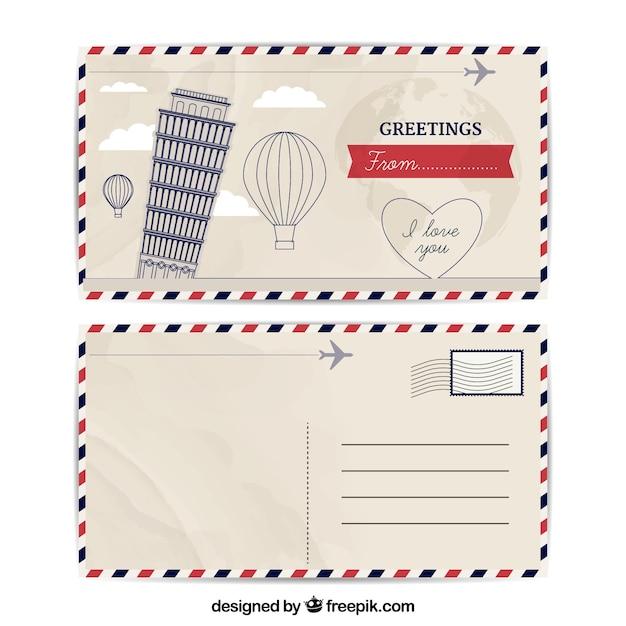 Reise Postkarte Vorlage in Vintage-Stil   Download der kostenlosen ...