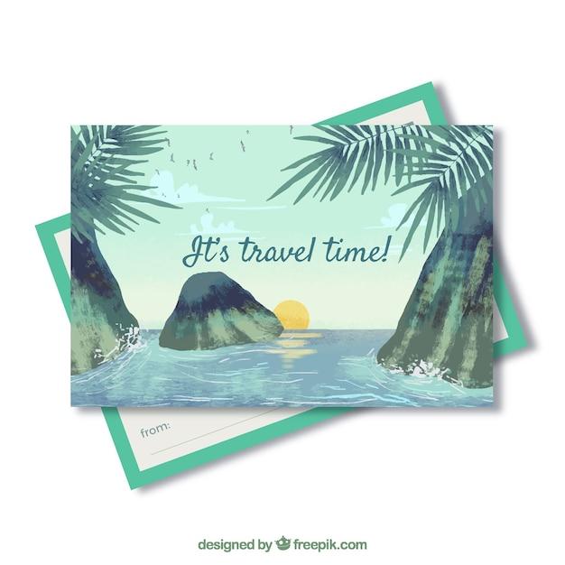 Reise postkarte vorlage mit aquarell landschaft Kostenlosen Vektoren