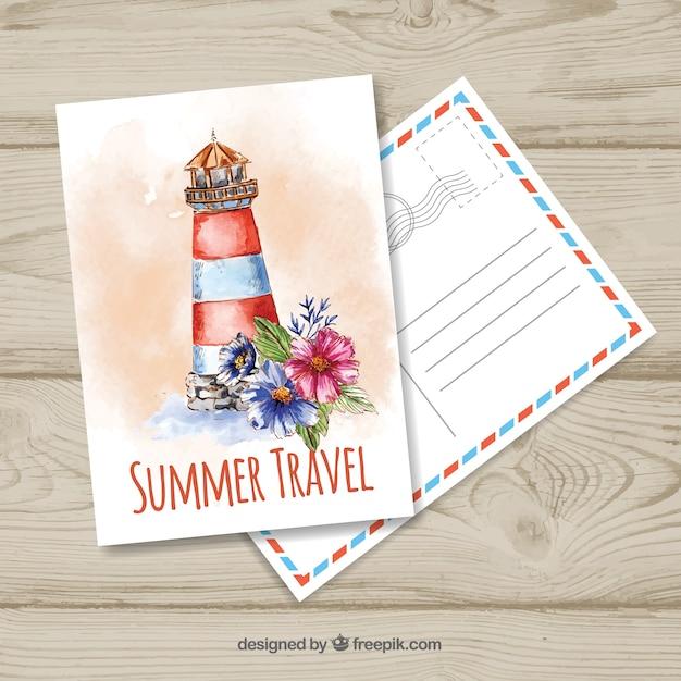 Reise Postkarte Vorlage mit Aquarell Landschaft   Download der ...