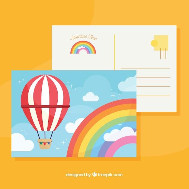 Reise postkarte vorlage mit flachen design Kostenlosen Vektoren