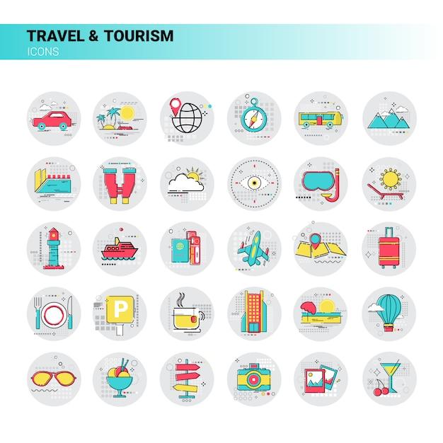 Reise-reise-tourismus-ikonen-gesetzte ferien-ferien Premium Vektoren