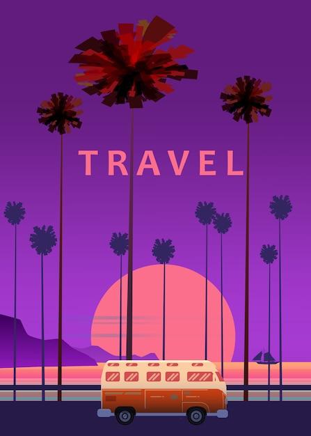 Reise, reiseillustration. sonnenuntergang, ozean, meer, meerblick surfender packwagenbus auf straßenpalme Premium Vektoren