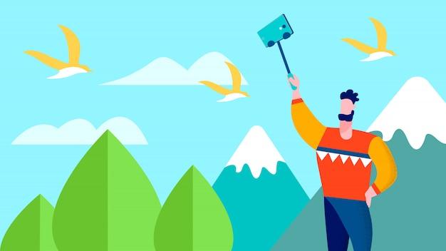 Reise selfie auf mountains traveler blog Premium Vektoren