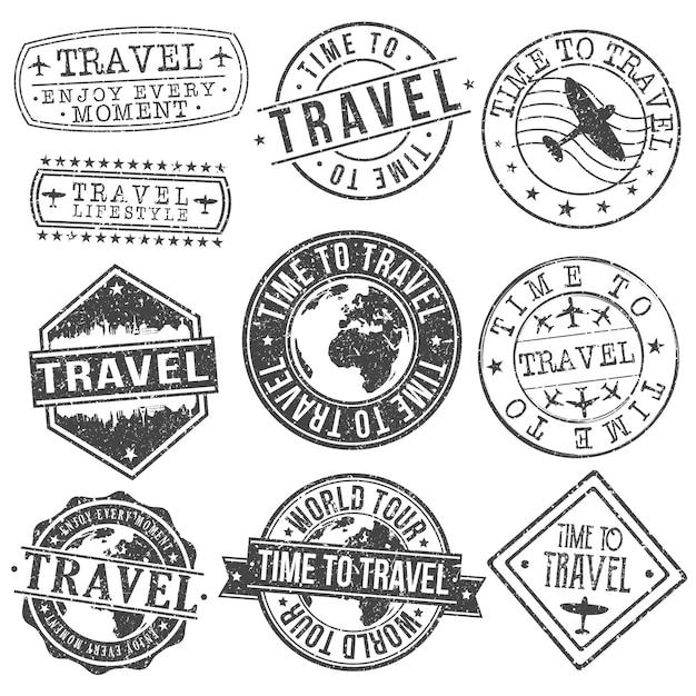 Reise-set von reisen und tourismus stempel designs Premium Vektoren