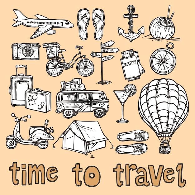 Reise skizze symbole gesetzt Premium Vektoren