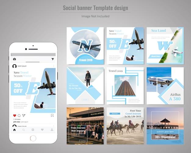 Reise-social media-post-vorlage Premium Vektoren