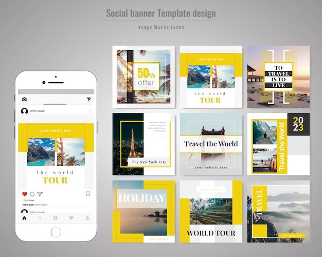 Reise-social-media-post-vorlage Premium Vektoren