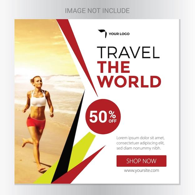 Reise-soziales banner Premium Vektoren