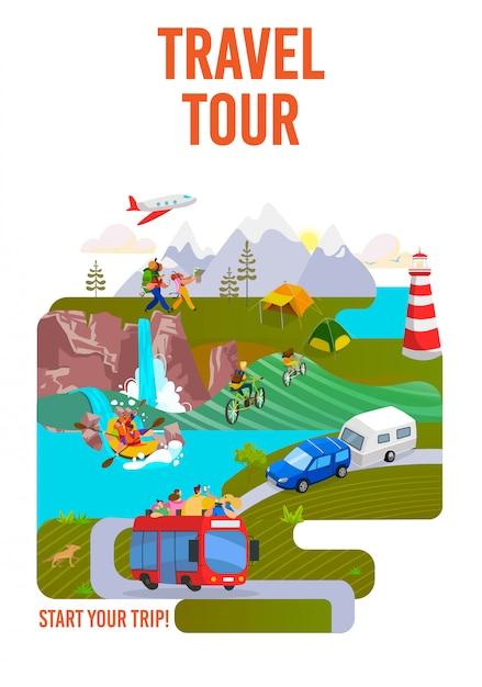 Reise, tour, reise in die welt, reisen und urlaub auf urlaubsplakat, illustration. wandern und roadtrip. tourismus. Premium Vektoren