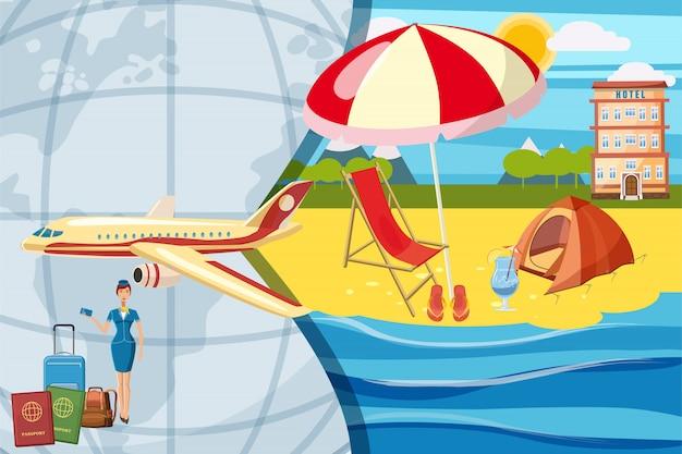 Reise-tourismus-konzept. hintergrund Premium Vektoren