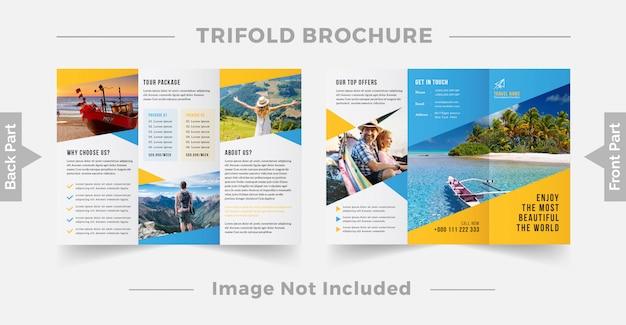 Reise trifold broschüre design-vorlage Premium Vektoren