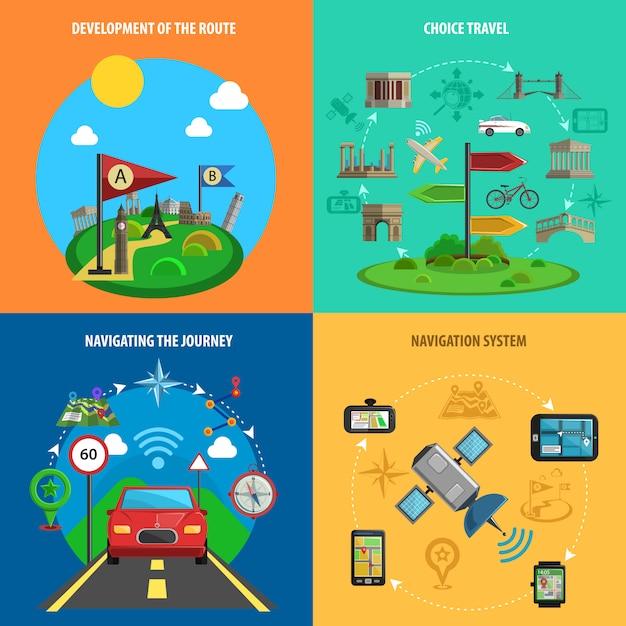 Reise- und navigations-dekorativer ikonen-satz Kostenlosen Vektoren