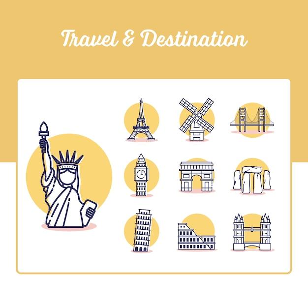 Reise- und reiseziel-symbole mit gliederungsstil festgelegt Premium Vektoren