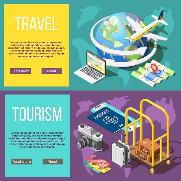 Reise-und tourismus-horizontale fahnen Kostenlosen Vektoren
