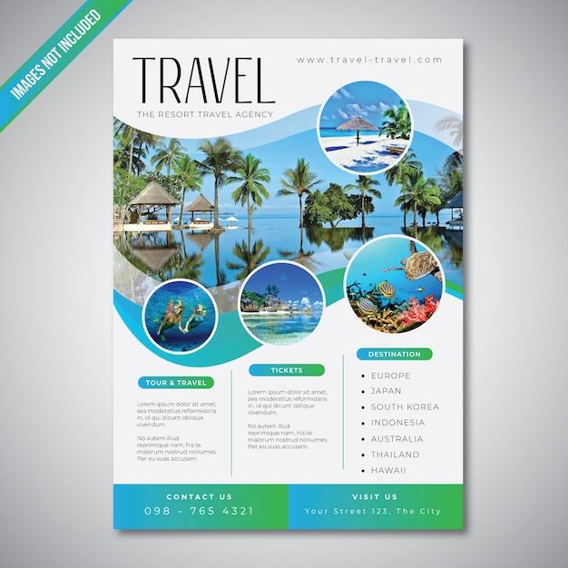 Reise- und tourismusflugblatt mit blauer seefarbschablone Premium Vektoren