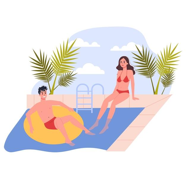 Reise- und urlaubskonzept. die leute entspannen sich am pool. paar mit sommerferien. illustration Premium Vektoren