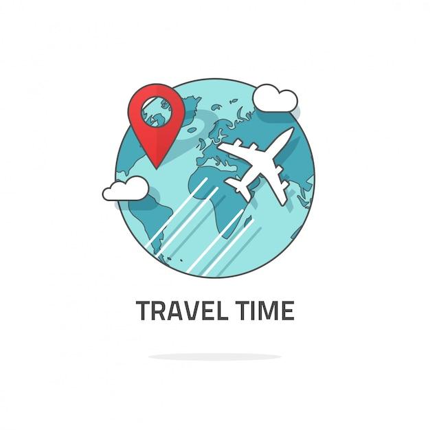 Reise- und weltreise-logo rund um die welt Premium Vektoren