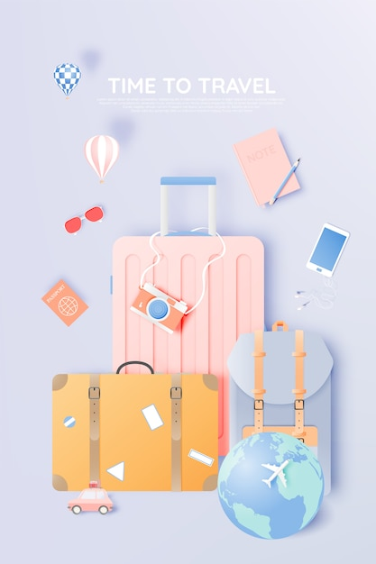 Reise verschiedene gegenstände im papierkunststil Premium Vektoren