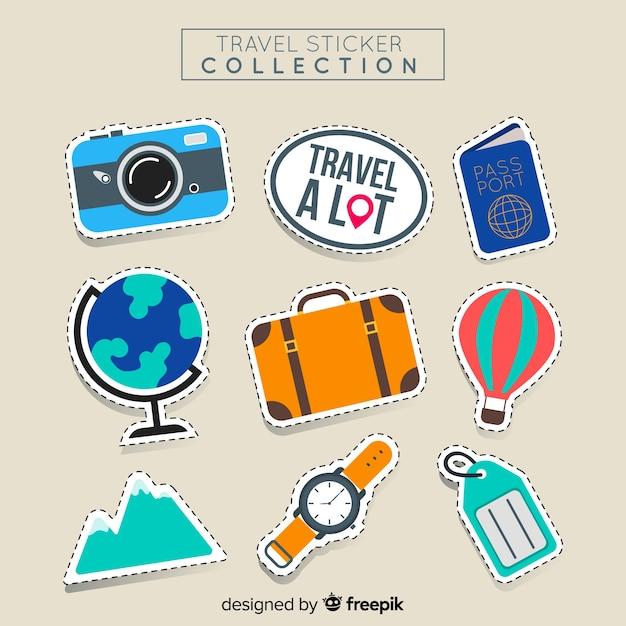 Reiseaufkleber set Kostenlosen Vektoren