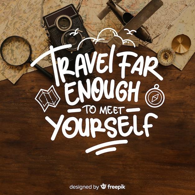 Reisebeschriftung mit zitat und bild Kostenlosen Vektoren