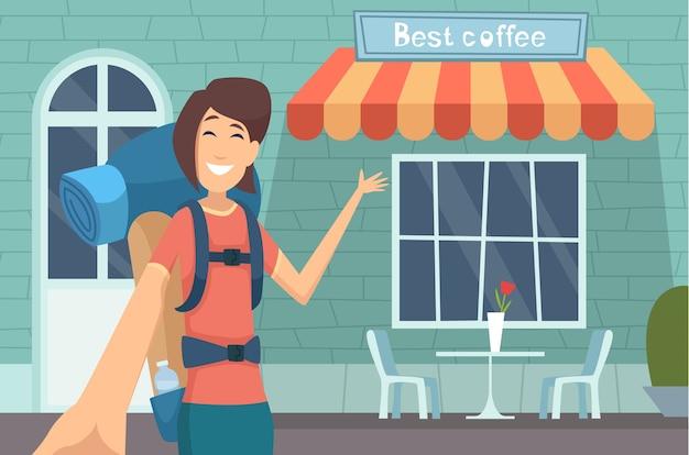 Reiseblogger. mädchen, das digitalen inhalt caffe bewertung online anzeigt, der moderne gebäude anzeigt, die vektorunterhaltungskonzept lehren. blogger über reisen, blog-video zur illustration in sozialen medien Premium Vektoren