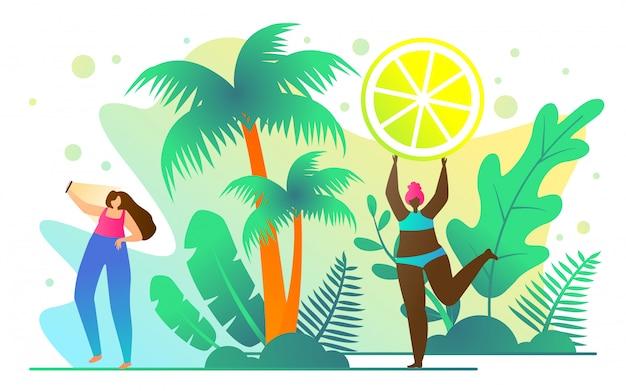 Reisebroschüre für active girls cartoon flat. ideenvielfalt im sommer Kostenlosen Vektoren