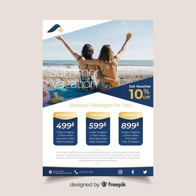 Reisebroschürenschablone mit foto Kostenlosen Vektoren