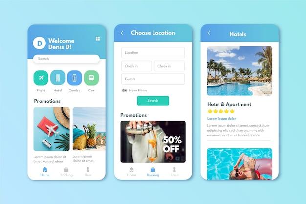 Reisebuchungs-app-bildschirme Kostenlosen Vektoren