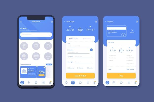 Reisebuchungs-app-konzept Kostenlosen Vektoren
